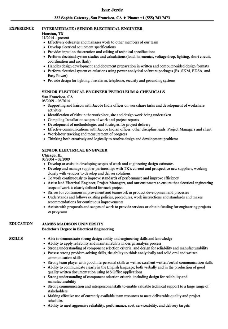 Electrical engineering resume examples high class senior