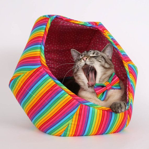 Cat Ball kitty bed made in cotton rainbow fabric  a fun cave