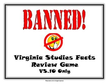 """Looking for a creative way to engage your students before the Virginia SOL Tests? Then this is the game for your students! This game can be compared to 'Taboo'. This particular game is for VS.10 only! That means all of the cards are for Virginia's current government and economics. The goal is for the clue giver to get their team to guess the word at the top of the cards without saying the """"banned"""" words."""