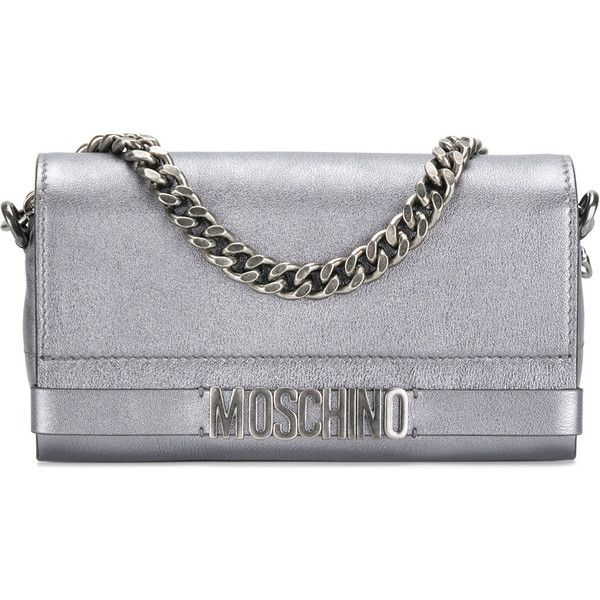 Moschino logo plaque clutch ($940) ❤ liked on Polyvore featuring bags, handbags, clutches, metallic, chain-strap handbags, leather zip purse, zip purse, leather clutches and metallic purse