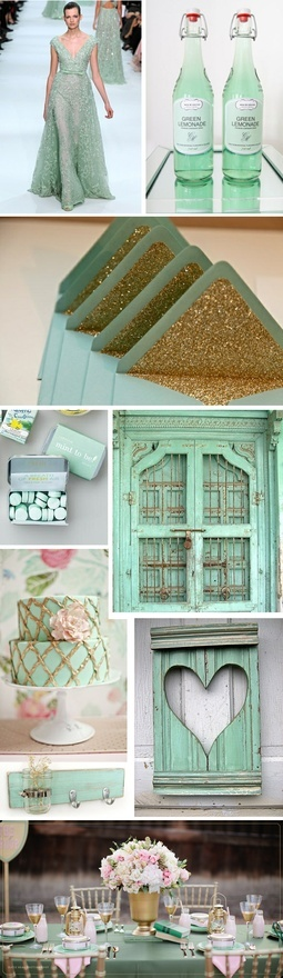 MINT + GOLD. gettin-hitched-and-tyin-the-knot
