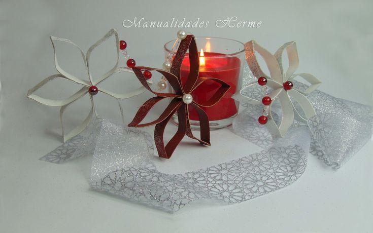 C mo hacer estrellas de navidad con rollos de papel - Manualidades navidad papel ...