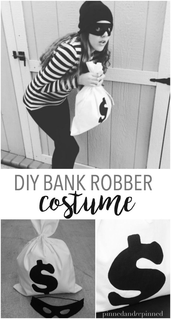 DIY bank robber costume that's easy and adorable. via @pinnedandrepinn