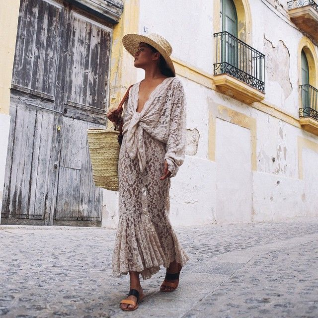 Olivia Lopez from the blog Lust For Life wearing a stunning summery beige lace maxi dress and straw hat