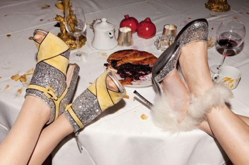 "Pie and shoes. Photo by Jessica Craig Martin, from ""Eat Your Heart Out,"" Paper, 2011. (l-r) Shoes by Miu Miu and Gianvito Rossi for Altuzarra."