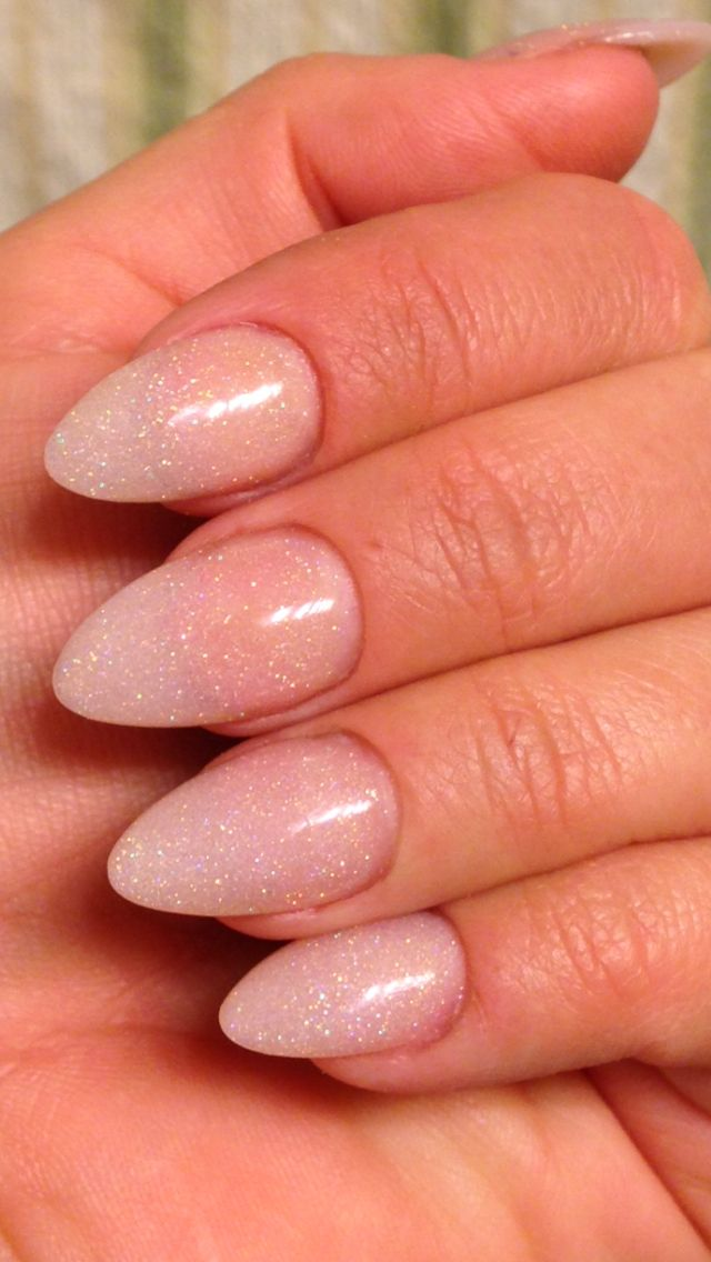 Nude almond acrylic sculpted nails