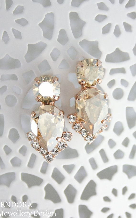 Champagne bridal earringsbridal earrings.bridal