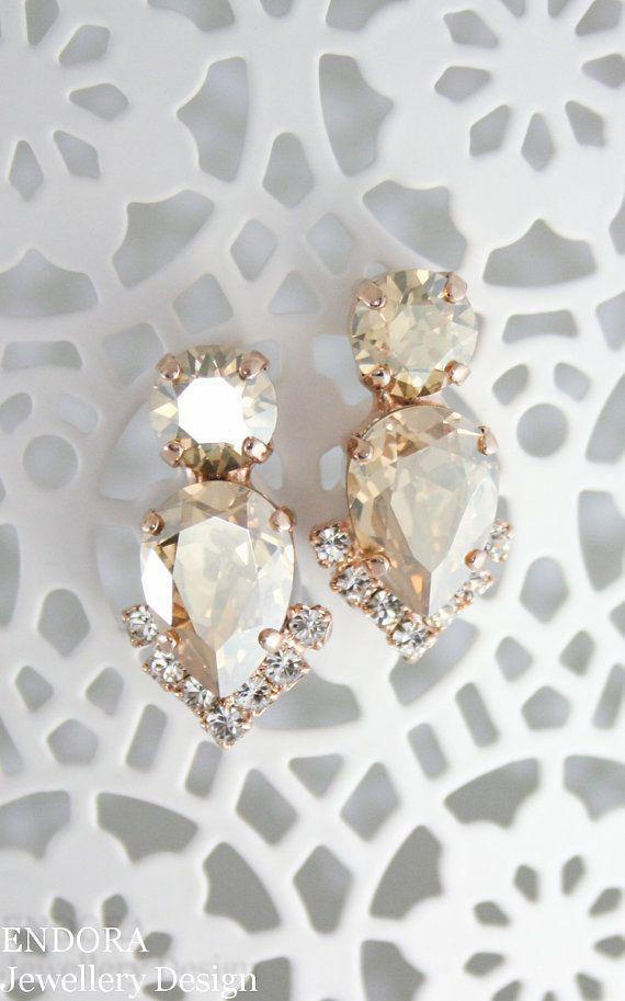 Champagne bridal earringsbridal earrings.bridal by EndoraJewellery