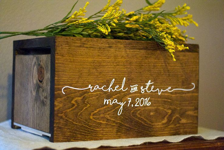 Personalized Wedding Card Box, money box, rustic wedding, rustic card box, wedding card holder, wood card box, rustic wedding decor by Woodlandedges on Etsy https://www.etsy.com/listing/270187861/personalized-wedding-card-box-money-box