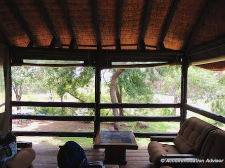 Thalu's lounge separates the 2 bedrooms. Flaps roll up to let the wilderness in.