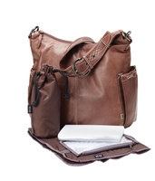 OiOi Diaper Bag  http://www.babyroad.com.au/products/ON-THE-GO/Nappy-Bags/OiOi-Chocolate-Soft-Touch-Leather-with-decovative-stitch-Hobo-Diaper-Bag
