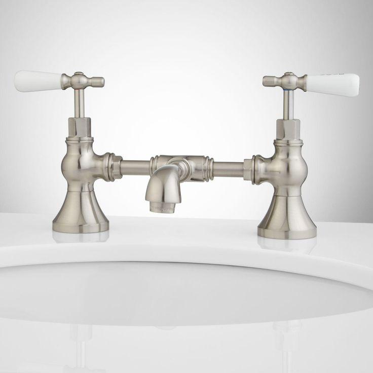 Monroe Bridge Bathroom Faucet Porcelain Lever Handles Faucets Bathroom Faucets And Brushed