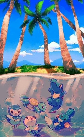 Water Pokemon, beach, Piplup, Oshawott, Squirtle, Mudkip, Totodile, swimming; Pokemon