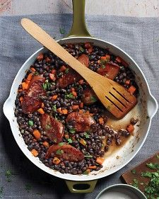 Black Beans and Sausage - Super yum. Cook some rice to go along with it. I also throw in any other veggies I have in the fridge.