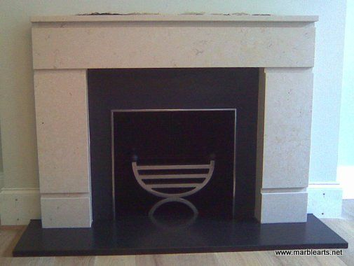 Limestone fireplace surround with granite hearth and slips in Jesmond, Newcastle