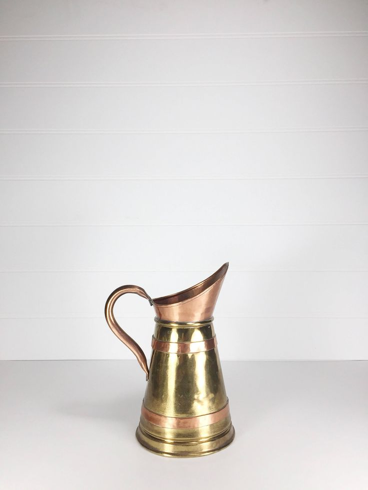 Vintage brass and copper pitcher | watering can by LeroyBrownFurnishing on Etsy