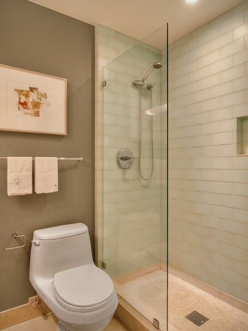 Replace Stall Wall With Partial Glass Block Wall Room Would Look Bigger Extend Shower Full
