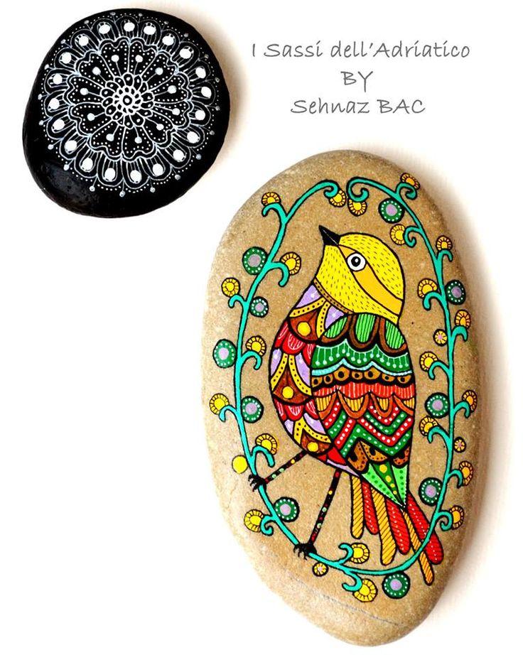 I think, also my birdie loves to do meditation with my mandala Happy evening!  https://www.facebook.com/ISassiDelladriatico #paintedstones