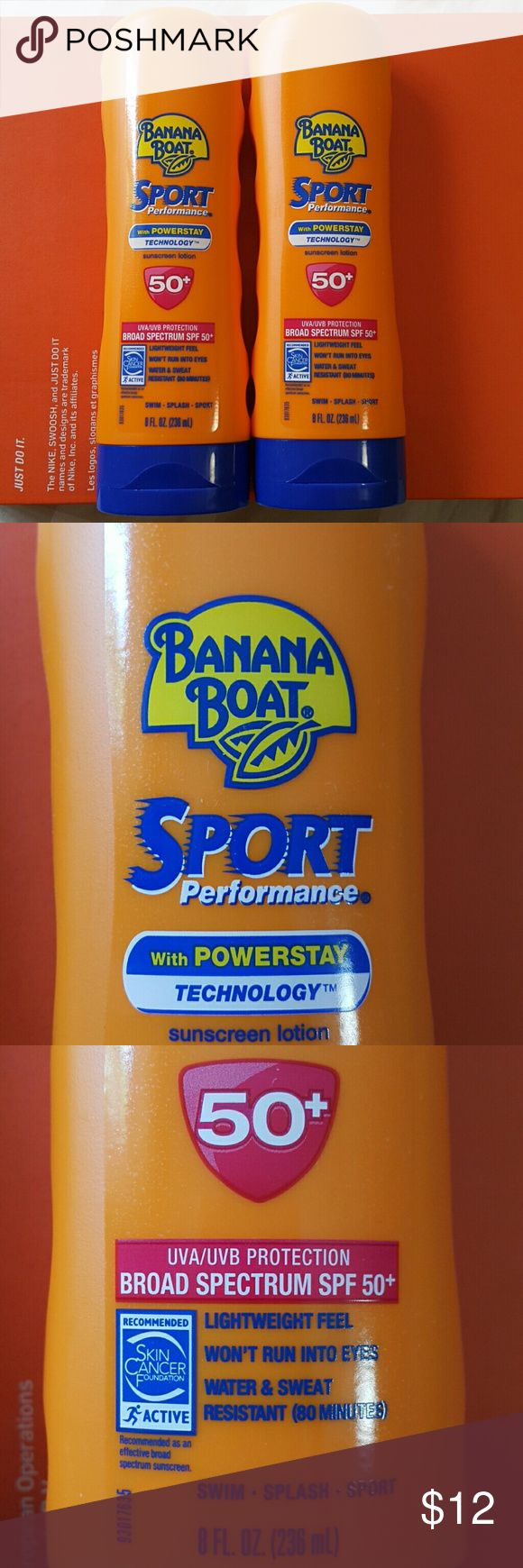 🆕(2 Pack)Banana Boat Sport Sunscreen Lotion Value Pack Banana Boat Sport Sunscreen Lotion Broad Spectrum SPF 50+ with UVA/UVB protection 236 ml. $12 for 2 packs, all NEW and FULL. Bundle with your favorite tops and save 15%. Banana Boat Other