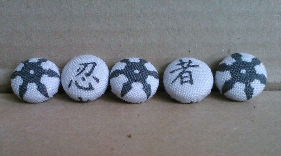 Shuriken 1/2 inch buttons set of 5 by Abandoned Warehouse
