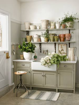 A Sink That Cleans up Nice: Modern Gardens, Dreams, Gardens Design Ideas, Mud Rooms, Pots Sheds, Storage Ideas, Pots Benches, Granite Countertops, Gardens Sheds