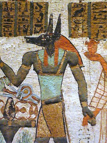 Ancient Egyptian wall painting depicting Anubis    Metropolitan Museum of Art  NYC
