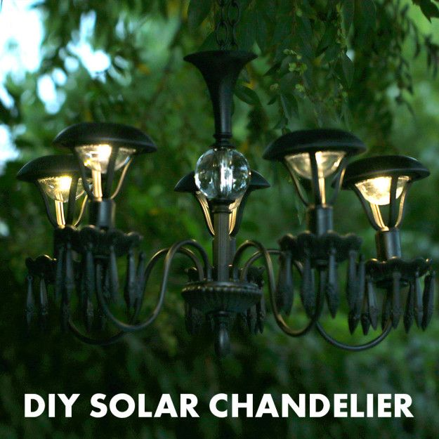 DIY Solar Chandelier - it actually looks fairly easy to do once you have all the parts.  You could, theoretically, do a bunch of different colors if you wanted.
