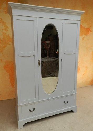 STUNNING PAINTED ANTIQUE VICTORIAN MIRROR WARDROBE ARMOIRE