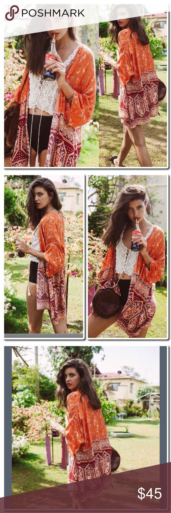 COMING SOON Floral Chiffon Kimono Beautiful Chiffon Kimono - Perfect for  Summer - Great as a beach Cover Up- Gorgeous Colors Tops