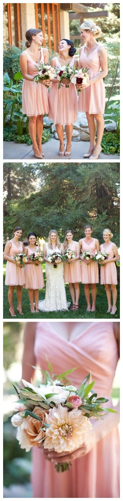 Pink Knee Length Bridesmaid Dresses V Neck Short Bridesmaid Dress under 100 PB10048