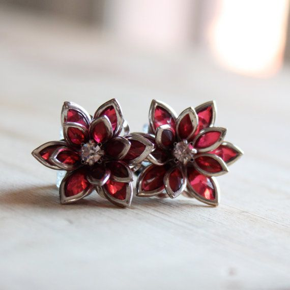 Flower Plugs Size 4g 2g 0g 00g and Up Vintage Inspired Ruby Red w Rhinestone Gauges Size 4 2 0 00 or Pierced Wedding Bridal Wear on Etsy, $22.00