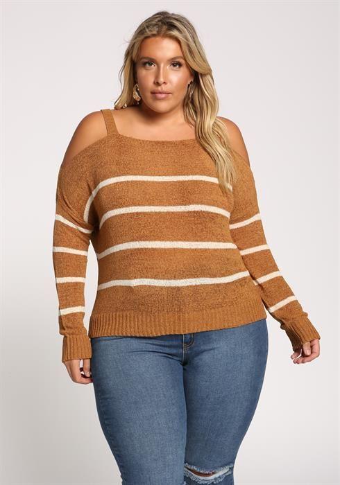 de32b5f14abc0 Plus Size Stripe Cold Shoulder Sweater Top