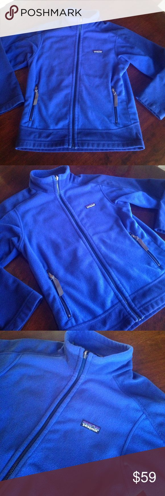 Patagonia Blue Zip Up Fleece Jacket. Size 8. This Patagonia Blue and dark blue zip Up Fleece jacket is gorgeous! It is in excellent, pre-owned condition and is a size 8. Patagonia Jackets & Coats
