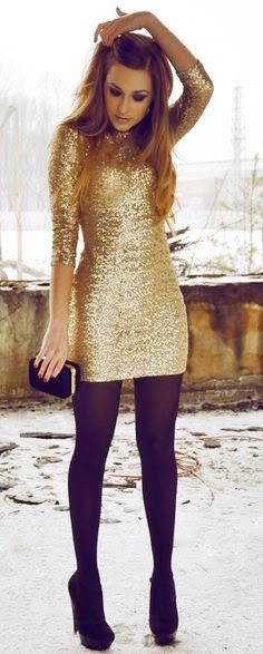 Gold Sequins Dress with Black Tights- The 4 Rules of What to Wear at a Wedding on earlyivy.com