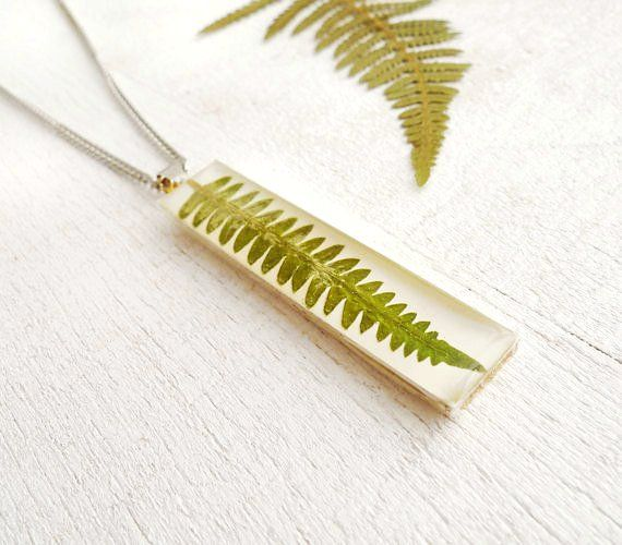 Pressed Fern Necklace - green preserved in epoxy resin - handmade resin jewelry