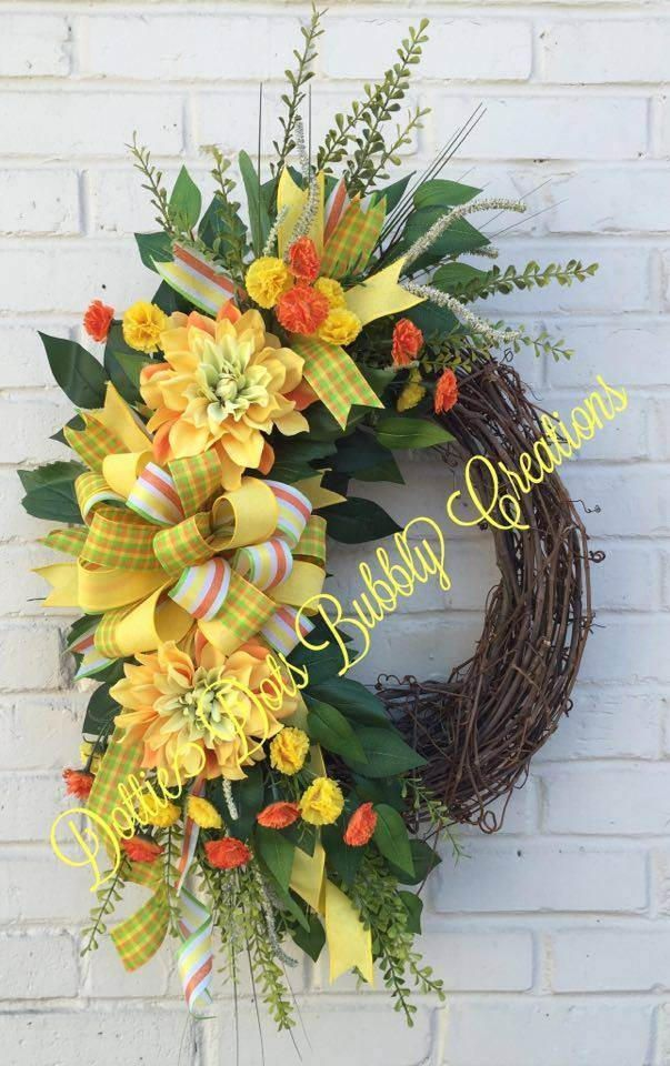 Dahlia Wreath Summer Door Wreath Summer Wreath for Front Door Farmhouse Summer Wreath Yellow Summer Wreath