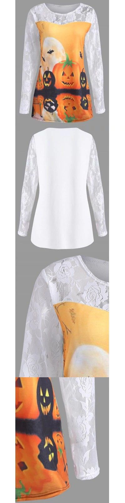 White and orange Plus Size Halloween Pumpkin Moon Lace Insert T-Shirt 5XL-$20.12