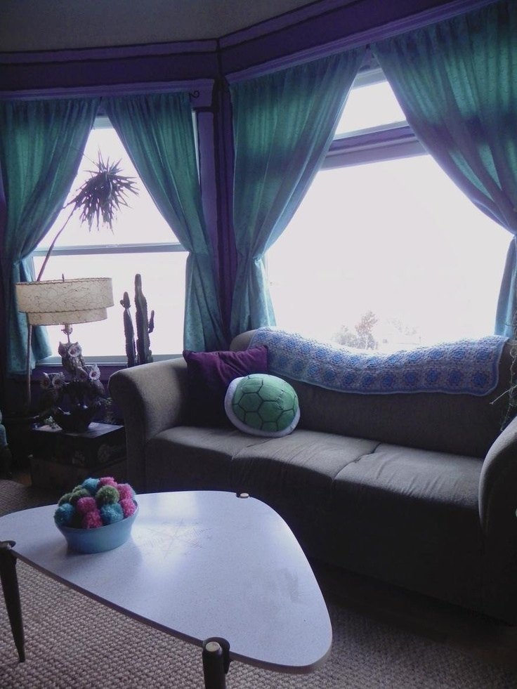 Grey Couch Purple Accents Teal Curtains Peacock
