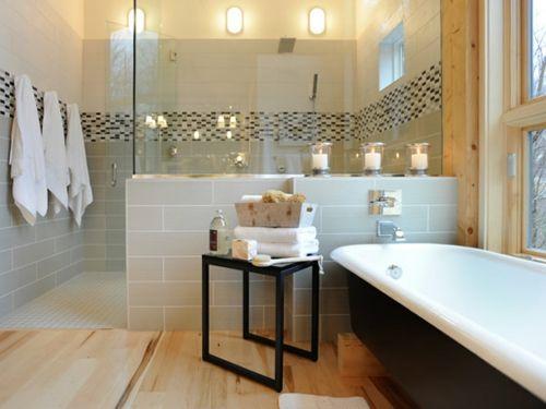 coole Ideen Badezimmer badewanne fliesen glas