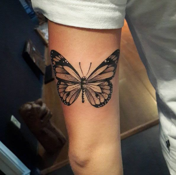 Dotwork Butterfly Tattoo by Diogo Rocha
