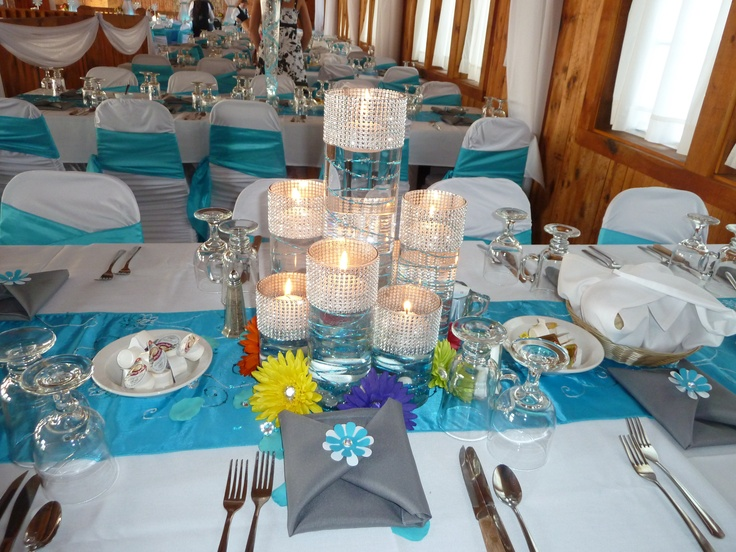 Malibu Blue Centerpiece With Daisy Accents Blue Wedding