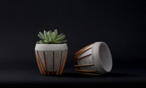Mexican design studio SHIFT have created La Morena, a cement and wood flower handmade pot.