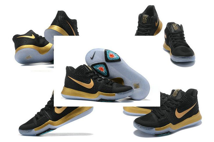 Kyrie Irving Shoes 2017 Kyrie 3 III Black Gold Championship