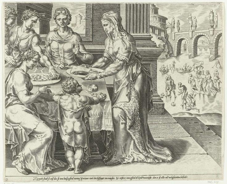 Dirck Volckertsz Coornhert | De Deugdzame vrouw bedient haar gezin, Dirck Volckertsz Coornhert, Maarten van Heemskerck, Cornelis Bos, 1555 | De deugdzame huisvrouw serveert voedsel voor haar gezin. Op de achtergrond een wintertafereel met schaatsers op een rivier. De prent is gebaseerd op Spreuken 31:15: 'Ze staat al op als het nog donker is, regelt het werk in huis, draagt haar slavinnen taken op' en Spreuken 31:21: 'Niemand in haar huis hoeft sneeuw te vrezen, zij heeft hen allen warm…
