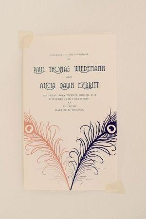 wedding invitations with peacock feathers // photo by JoyeusePhotography.com