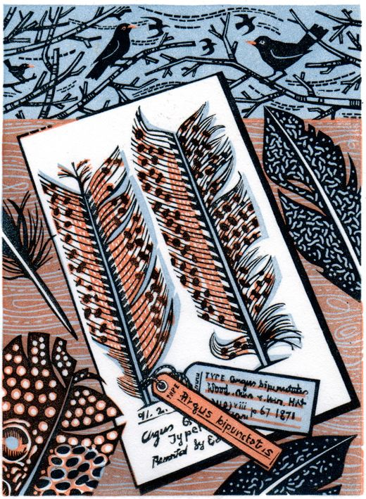 "Angie Lewin's ""Drawing At The Museum"" wood engraving"