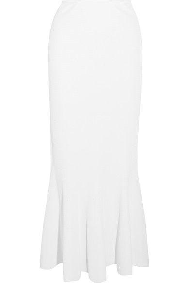 Alaïa - Fluted Stretch-piqué Maxi Skirt - White - FR40