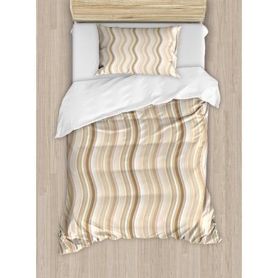 Ambesonne Wavy Curvy Lines Flowing in Vertical Direction Swirl Energy Motion Inspired Duvet Set Size: