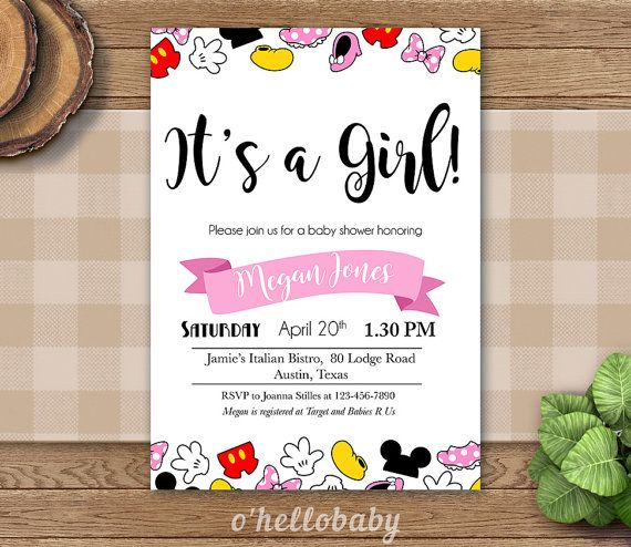 Personalized Itu0027s A Girl Baby Shower Invitation Cards   Baby Girl Disney  Theme Baby Shower Party   Disney Baby Shower   005