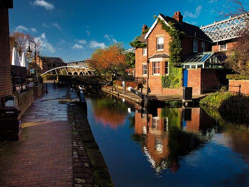 Morning in Castlefield, Manchester. England This is the Lock Keepers House by the Bridgewater Canal. Since last summer I've been working at Dukes 92, a restaurant/bar, which is just about visible to the left.   This is how I like to picture the Castlefield area, especially in the summer it is really beautiful. I love how clear the reflection of the house is in the water.